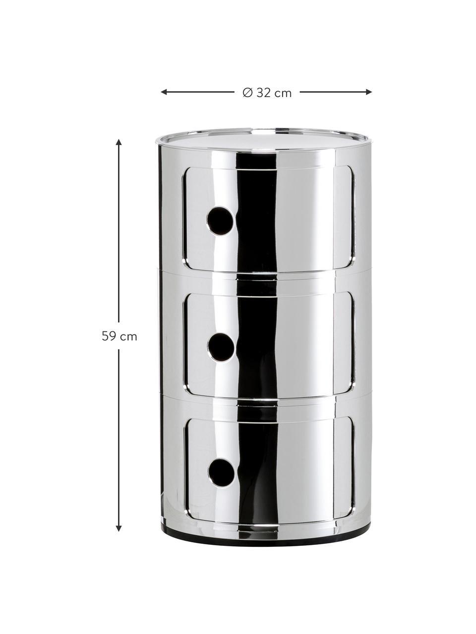 Stolik pomocniczy Componibile, Tworzywo sztuczne (ABS), lakierowane, Chrom, Ø 32 x W 59 cm