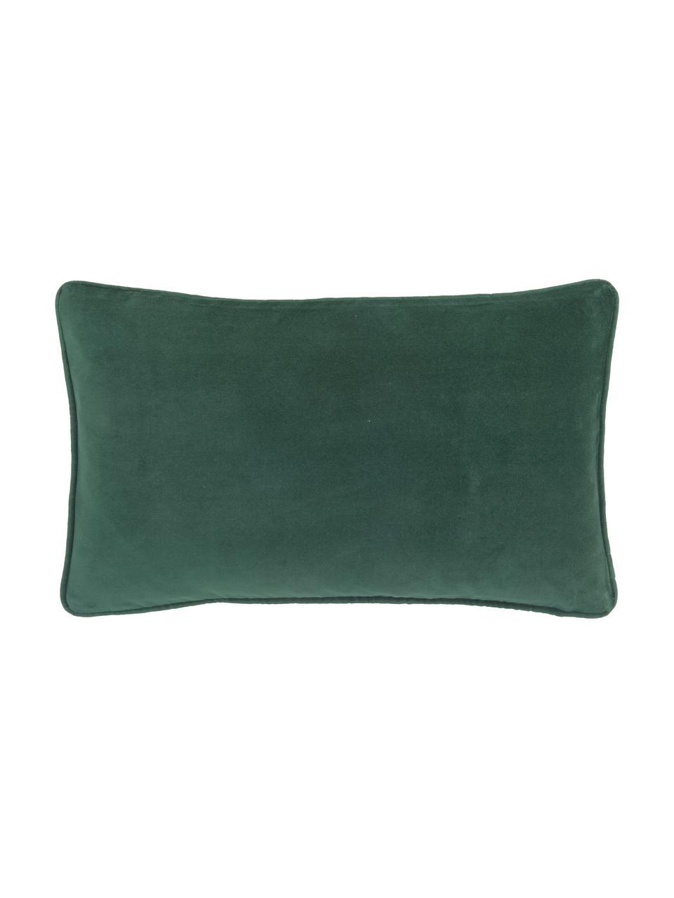 Effen fluwelen kussenhoes Dana in smaragdgroen, 100% katoenfluweel, Smaragdgroen, 30 x 50 cm