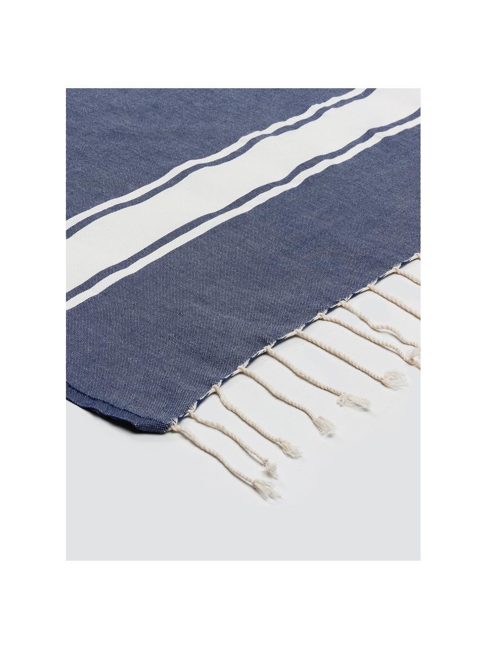 Gestreifte Baumwoll-Tischdecke St. Tropez mit Fransen, Baumwolle, Denimblau, Weiß, Für 6 - 8 Personen (B 150 x L 250 cm)