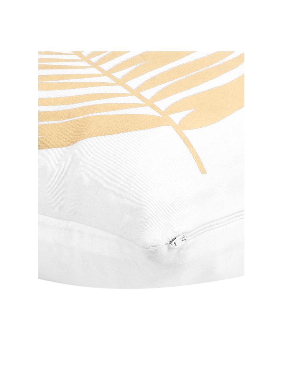 Weiße Kissenhülle Light mit goldenem Print, 100% Baumwolle, Weiß, Goldfarben, 40 x 40 cm