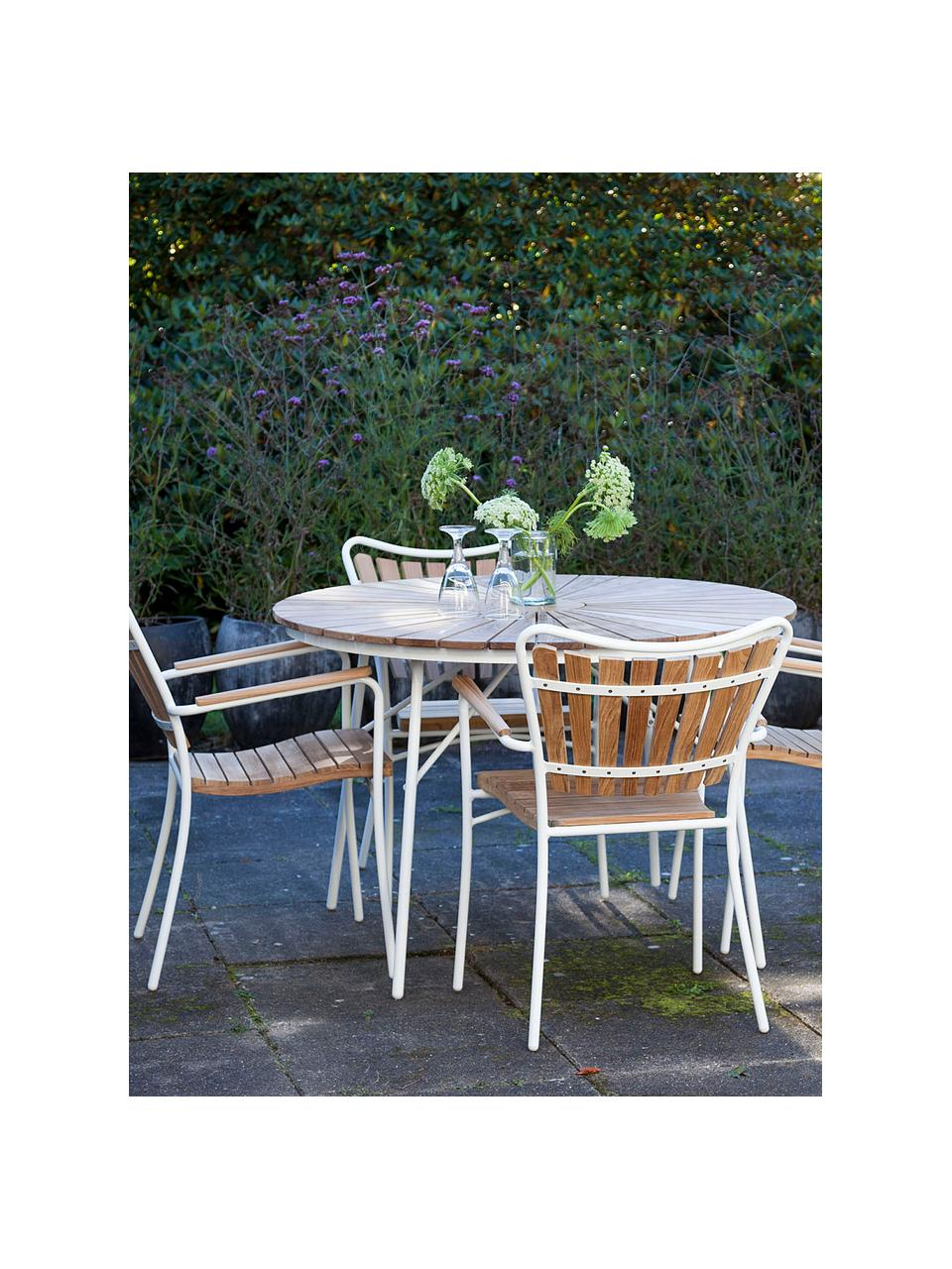 Salon de jardin en bois et métal Ellen, 5-tlg, Blanc, bois de teck