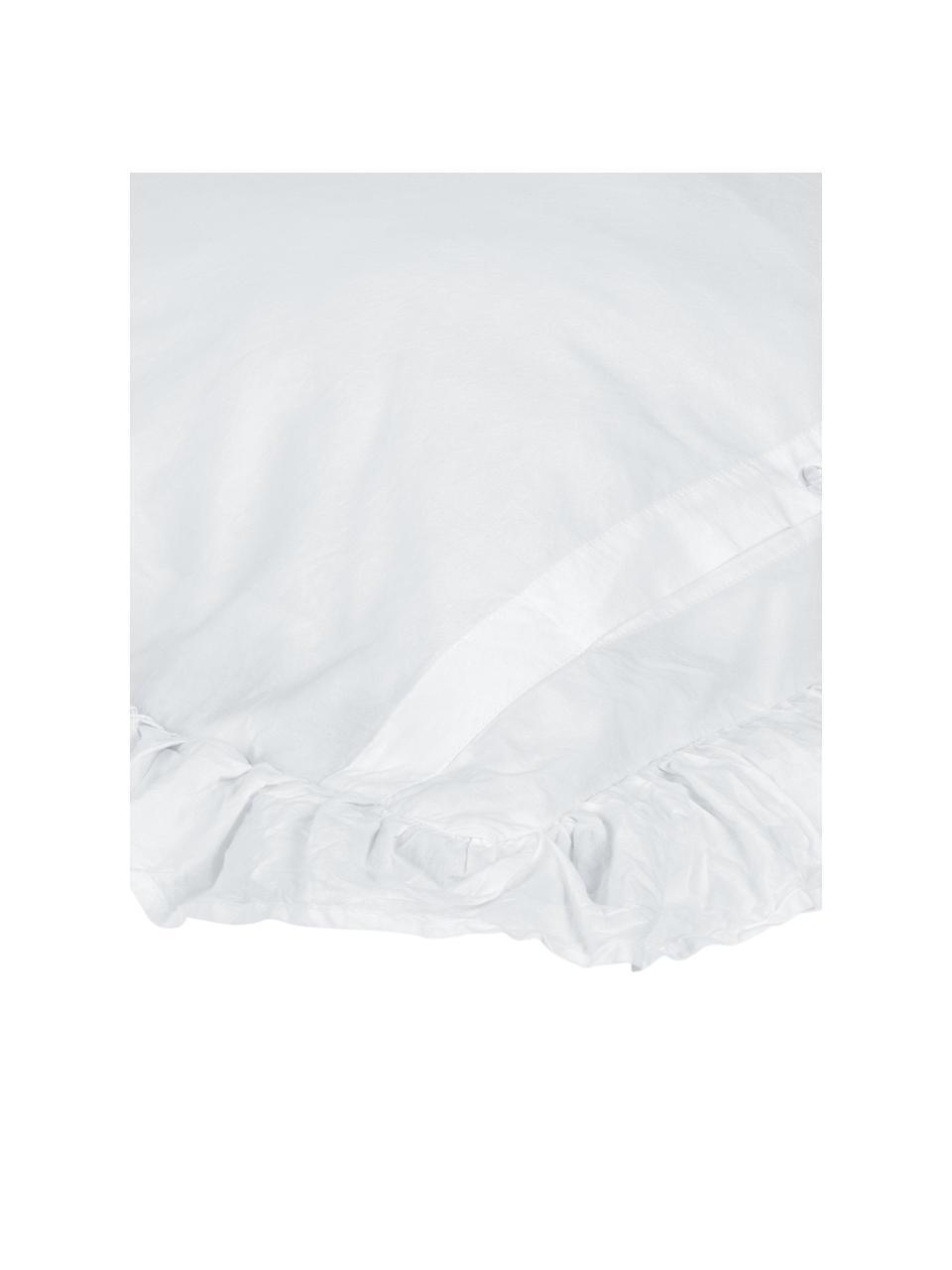 Gewaschene Baumwoll-Kissenbezüge Florence mit Rüschen, 2 Stück, Webart: Perkal Fadendichte 180 TC, Weiß, 40 x 80 cm