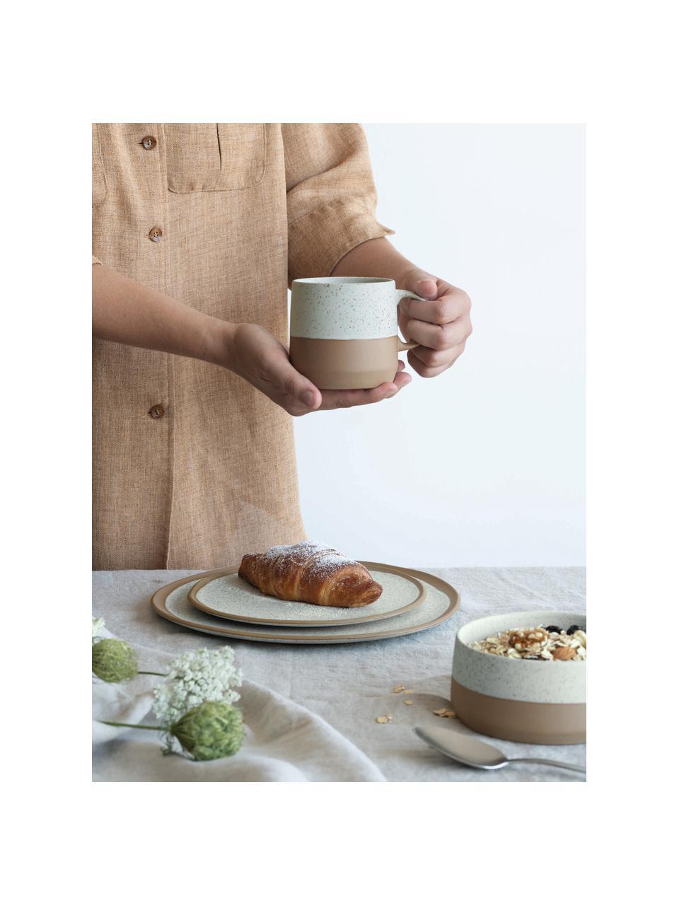 Tassen Caja in Braun/Beige matt, 2 Stück, Steingut, Braun- und Beigetöne, Ø 9 x H 9 cm