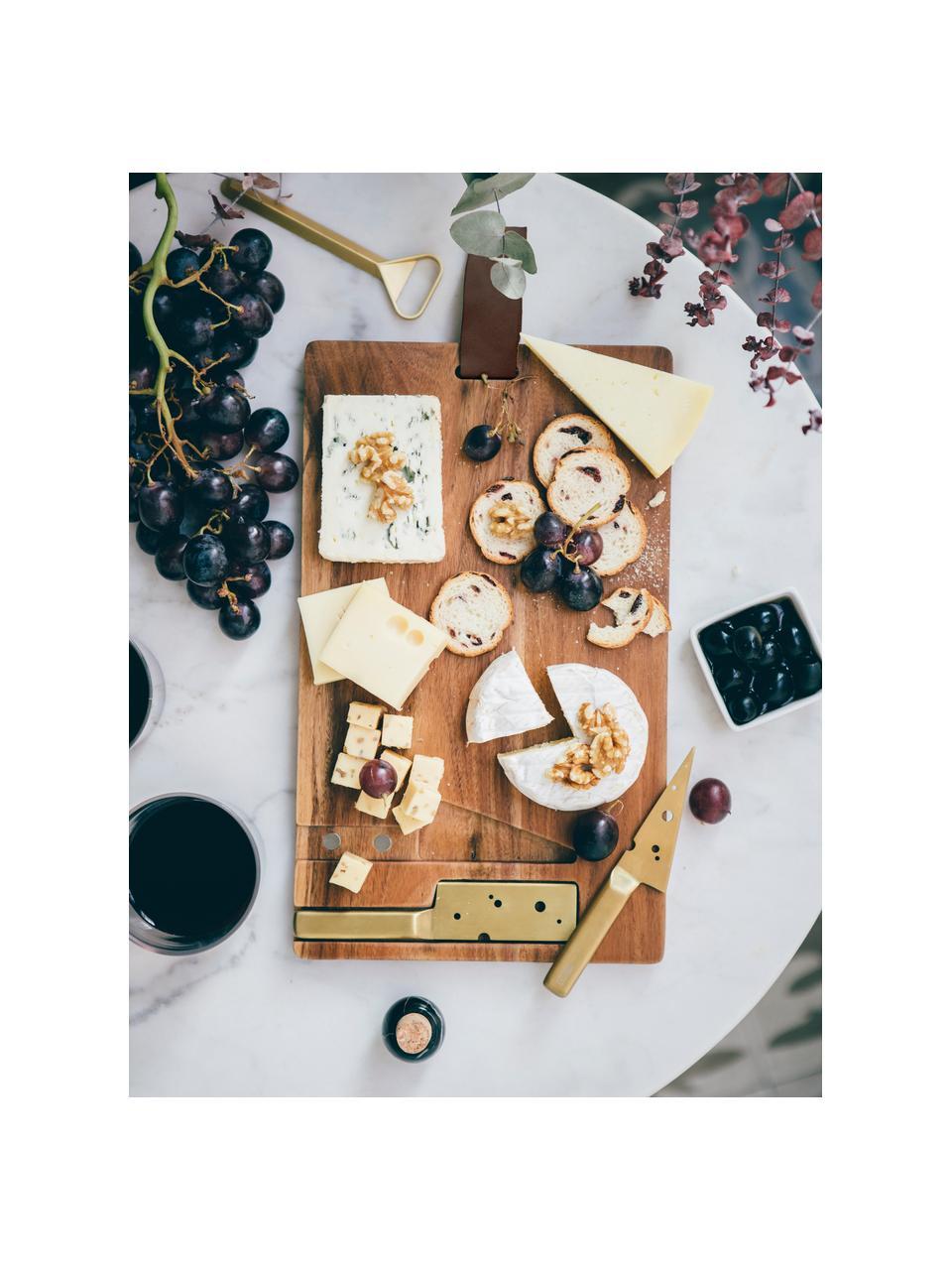 Käse-Schneidebrett King mit Käsemesser L 37 x B 23 cm, 3-tlg., Messer: Edelstahl, beschichtet, Servierplatte: AkazienholzAufhängeschlaufe: BraunMesser: Goldfarben, 23 x 37 cm