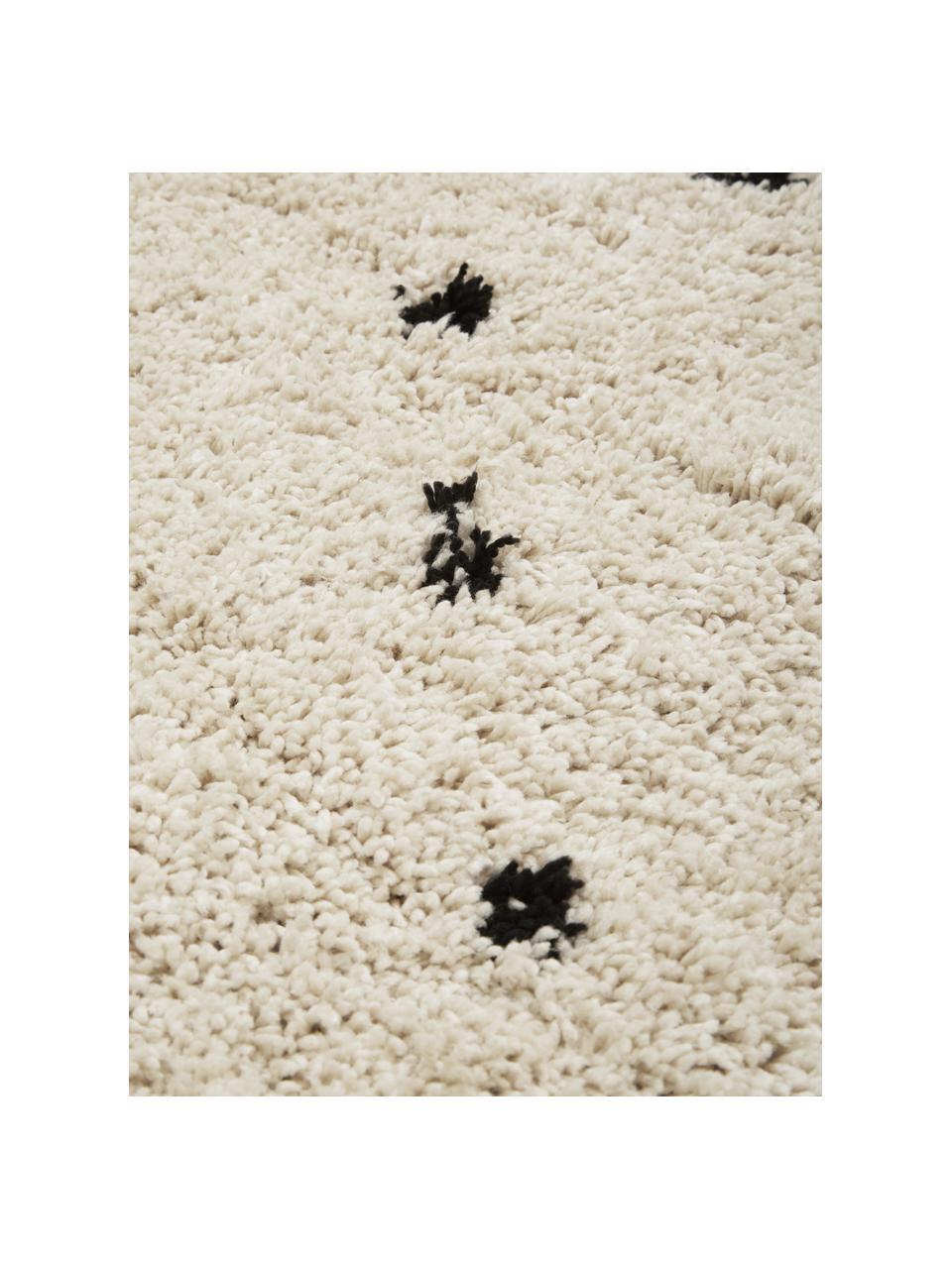 Zacht hoogpolig vloerkleed Ayana, met stippels, Bovenzijde: 100% polyester, Onderzijde: 100% katoen, Beige, zwart, B 120 x L 180 cm (maat S)