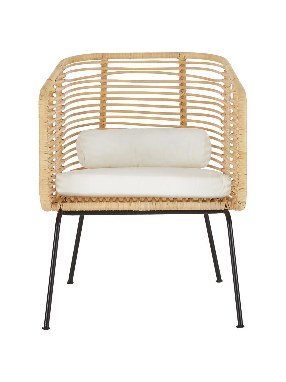 Fotel z rattanu Merete, Siedzisko: rattanStelaż: czarny, matowyPoszewki: biały, S 72 x G 74 cm