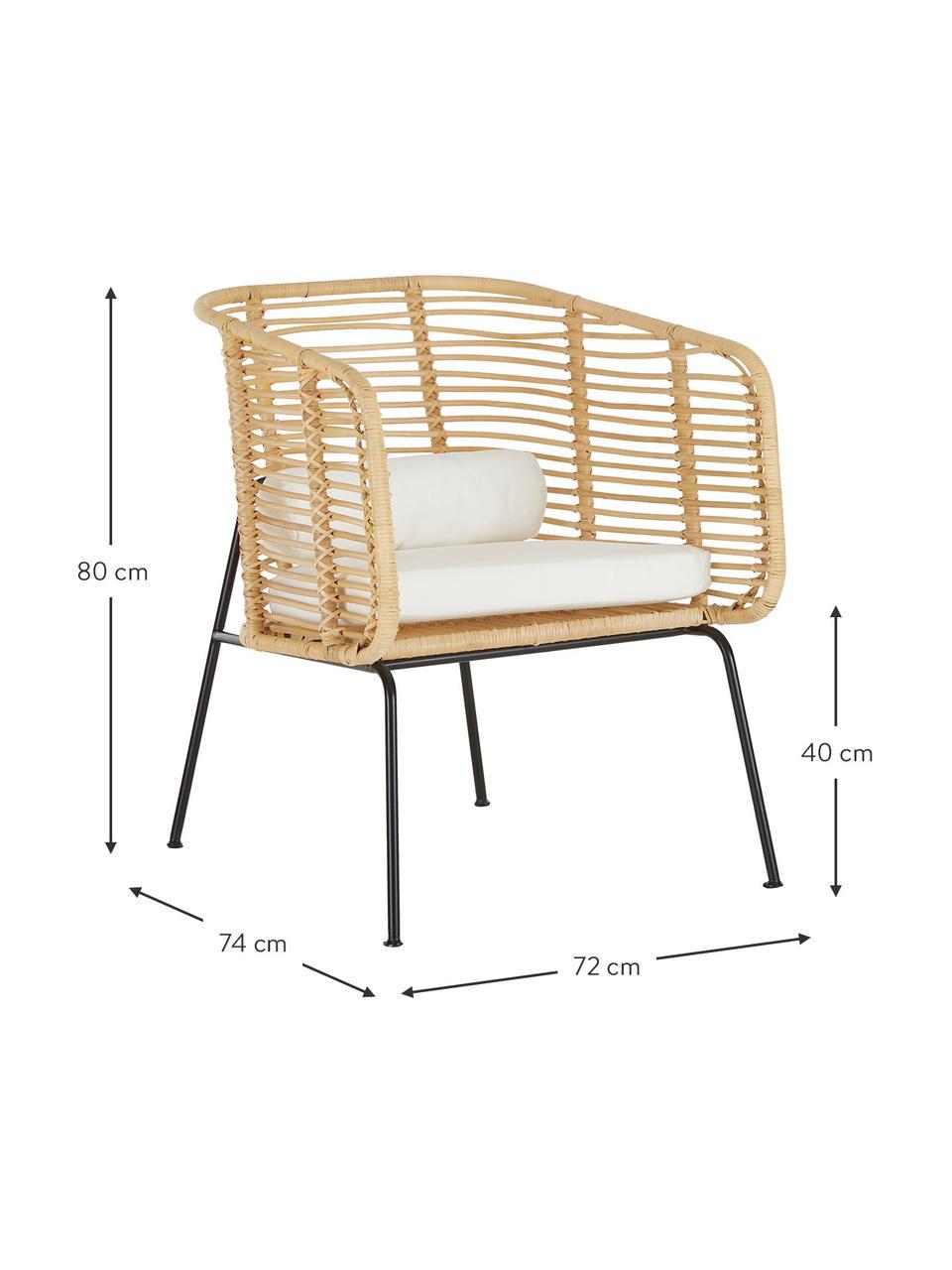 Rattan-Loungestuhl Merete, Sitzfläche: Rattan, Gestell: Metall, pulverbeschichtet, Rattan, Weiß, B 72 x T 74 cm