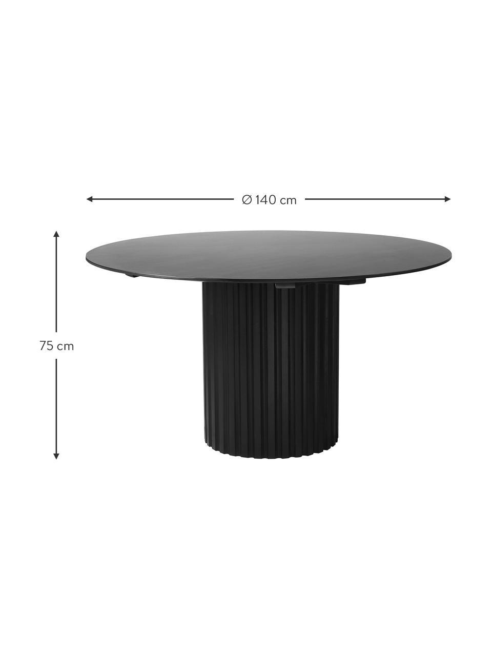 Runder Esstisch Pillar in Schwarz, Sungkai-Holz, Mitteldichte Holzfaserplatte (MDF), Schwarz, Ø 140 x H 75 cm