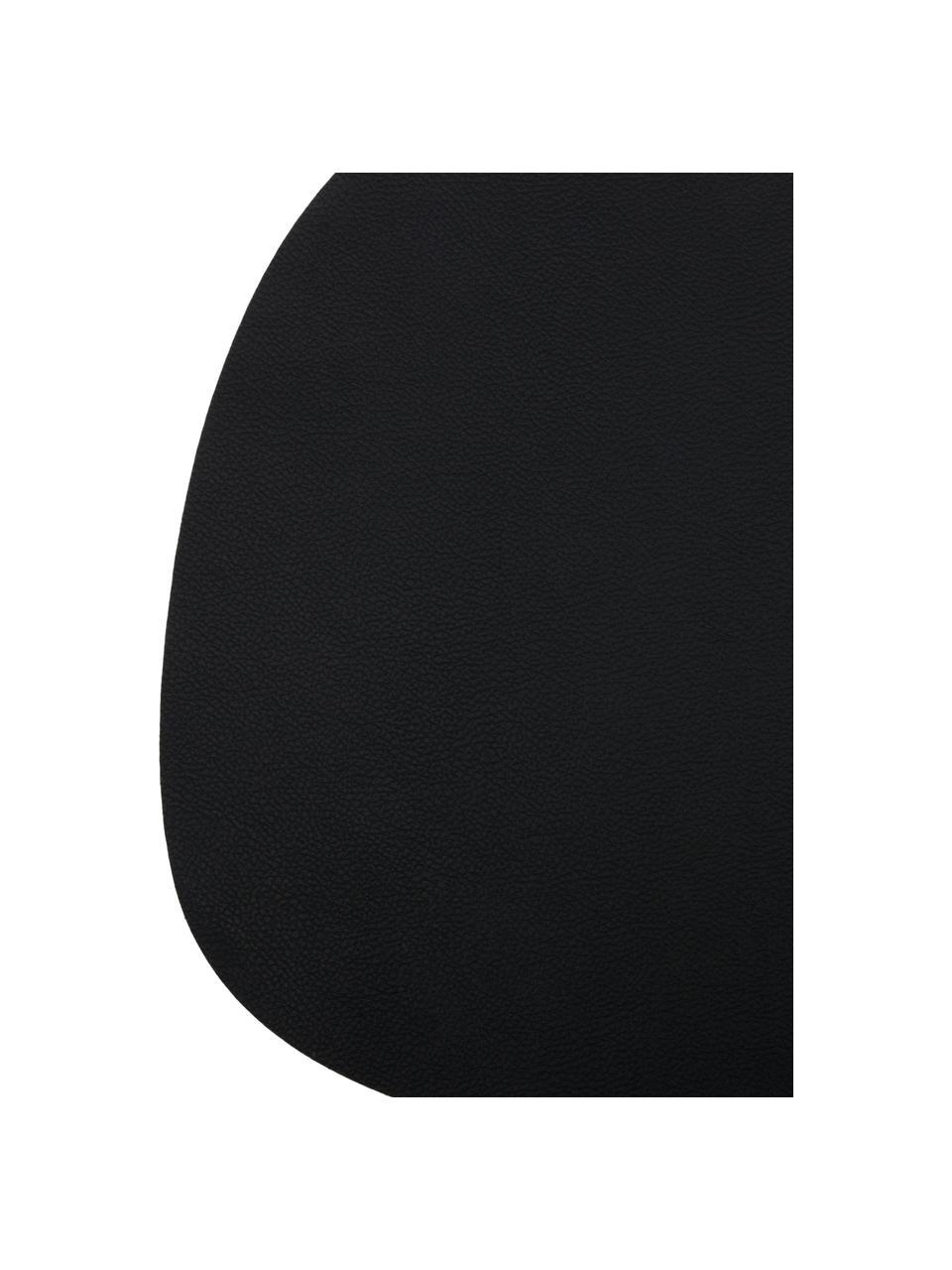 Owalna podkładka ze sztucznej skóry Leni, 2 szt., Skóra, Czarny, S 33 x D 40 cm