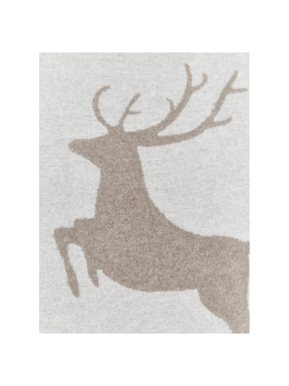 Weiche Fleece-Kissenhülle Sylt Hirsch in Hellgrau/Beige, 85%Baumwolle, 8%Viskose, 7%Polyacryl, Beige, 50 x 50 cm