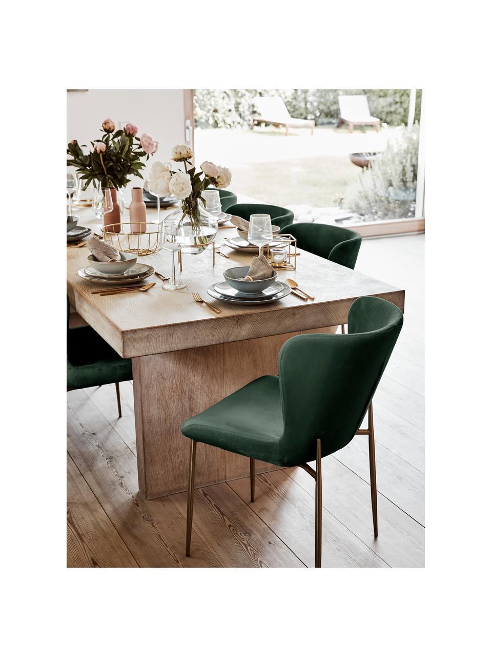 Krzesło tapicerowane z aksamitu Tess, Tapicerka: aksamit (poliester) Dzięk, Nogi: metal malowany proszkowo, Aksamitny zielony, złoty, S 49 x W 84 cm