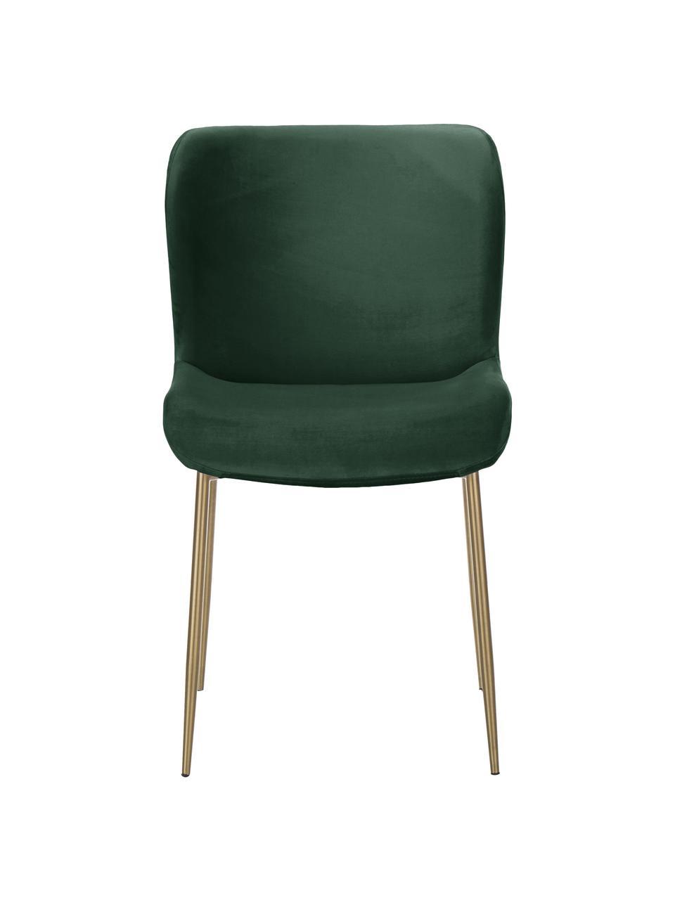 Sedia imbottita in velluto verde Tess, Rivestimento: velluto (poliestere) Il r, Gambe: metallo verniciato a polv, Velluto verde, oro, Larg. 49 x Alt. 84 cm