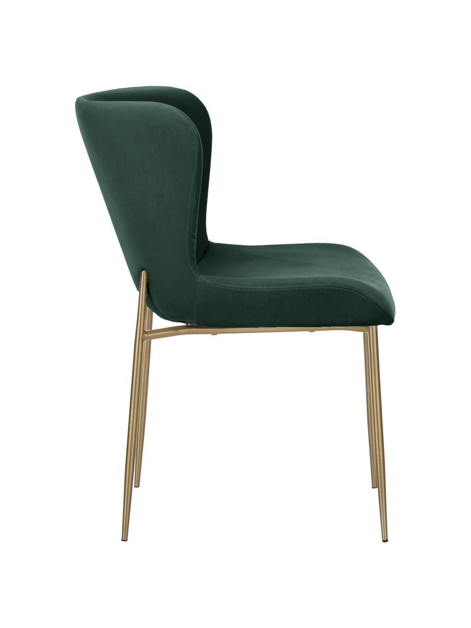 Chaise en velours rembourrée Tess, Velours vert, or