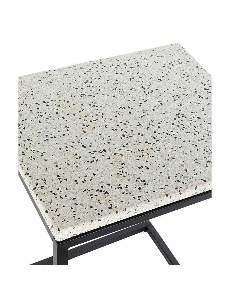 Tavolino in metallo con piano in terrazzo Pablo, Struttura: metallo, nero verniciato, Piano d'appoggio: cemento con terrazzo, Bianco, nero, multicolore, Larg. 40 x Alt. 65 cm