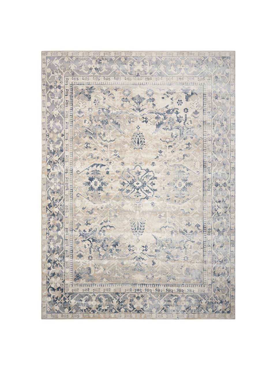 Vintage Teppich Malta in Blau-Beige, 90% Polypropylen, 10% Chenille, Elfenbeinfarben, Blautöne, B 160 x L 230 cm (Größe M)