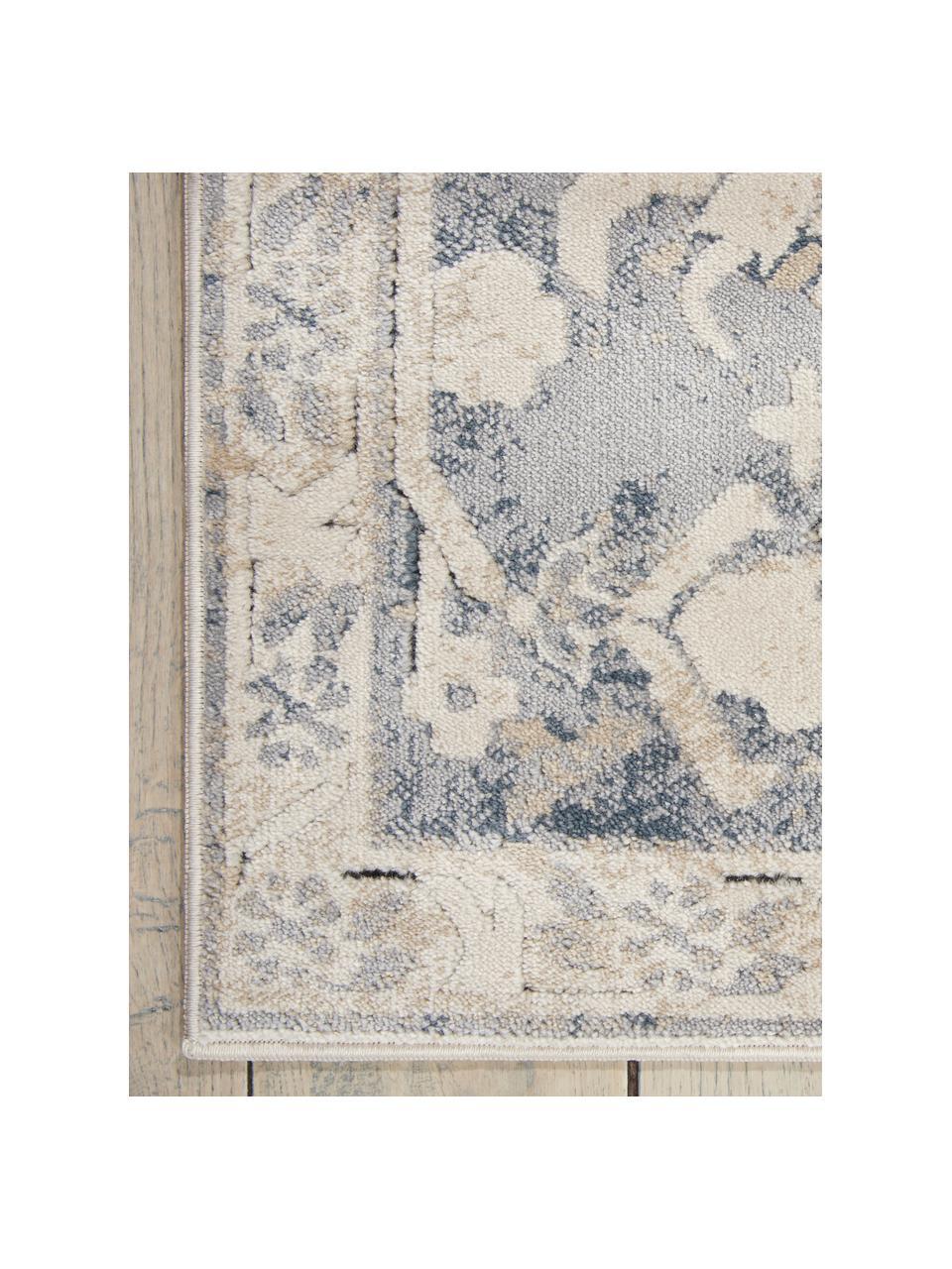 Dywan vintage Malta, Kość słoniowa, odcienie niebieskiego, S 160 x D 230 cm (Rozmiar M)