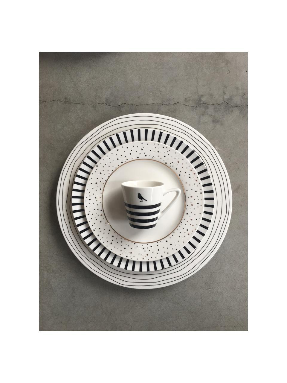 Talerz śniadaniowy Ceres Loft, 4 szt., Porcelana, Biały, czarny, Ø 21 x W 2 cm