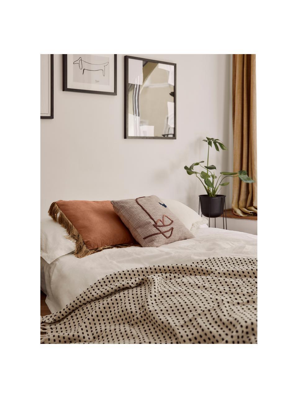 Poduszka z frędzlami z wypełnieniem Fringes, Pomarańczowy, S 45 x D 45 cm