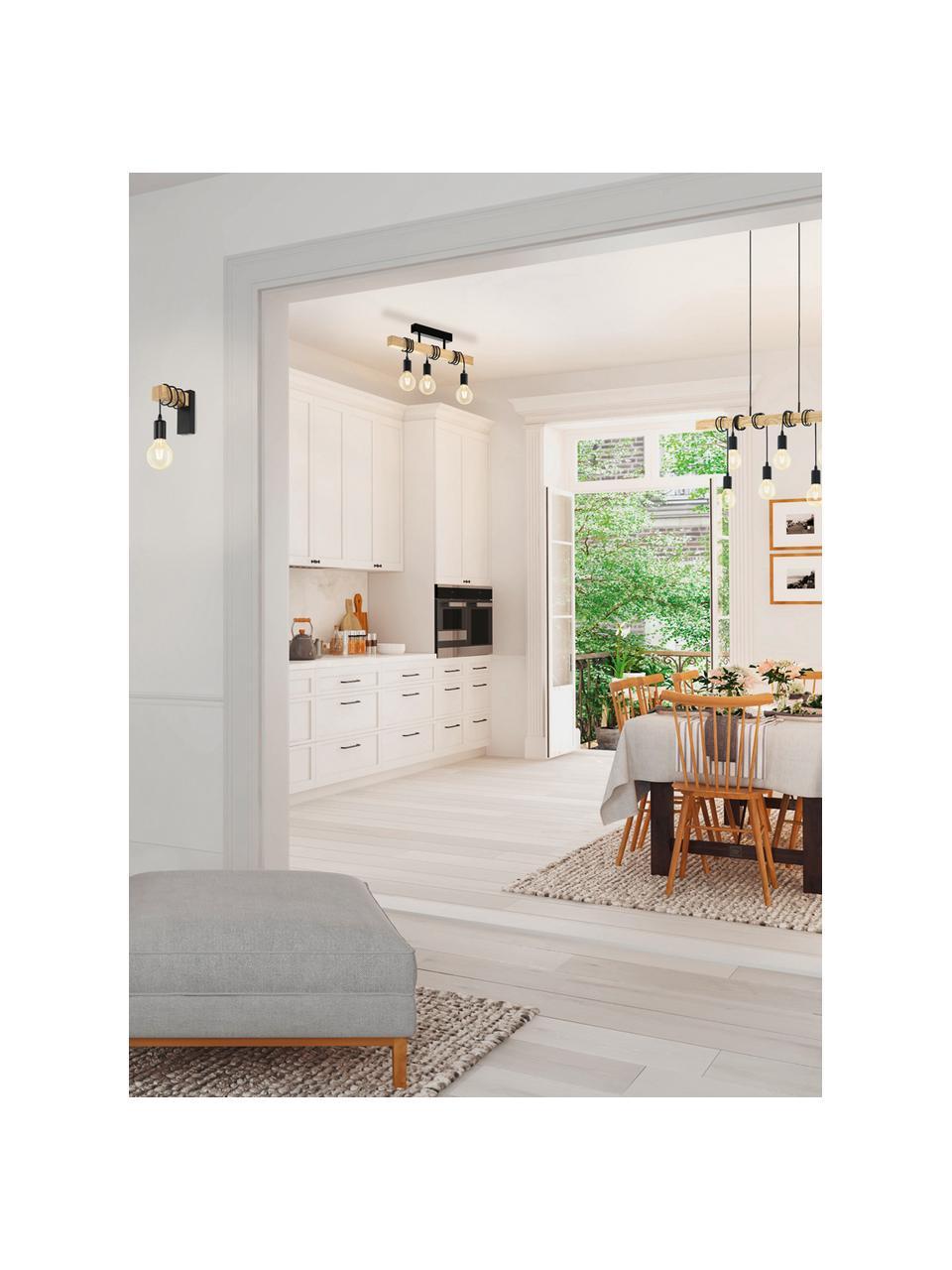 Plafondlamp Townshend van hout, Baldakijn: gelakt staal, Zwart, houtkleurig, 55 x 27 cm
