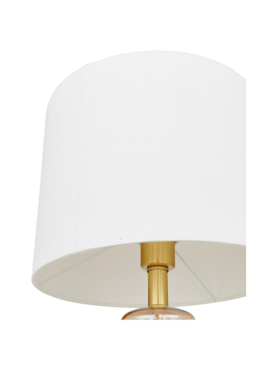 Lampada da tavolo con base in vetro Natty, Paralume: tessuto, Base della lampada: vetro, ottone spazzolato, Bianco, ambra, trasparente, Ø 31 x Alt. 48 cm
