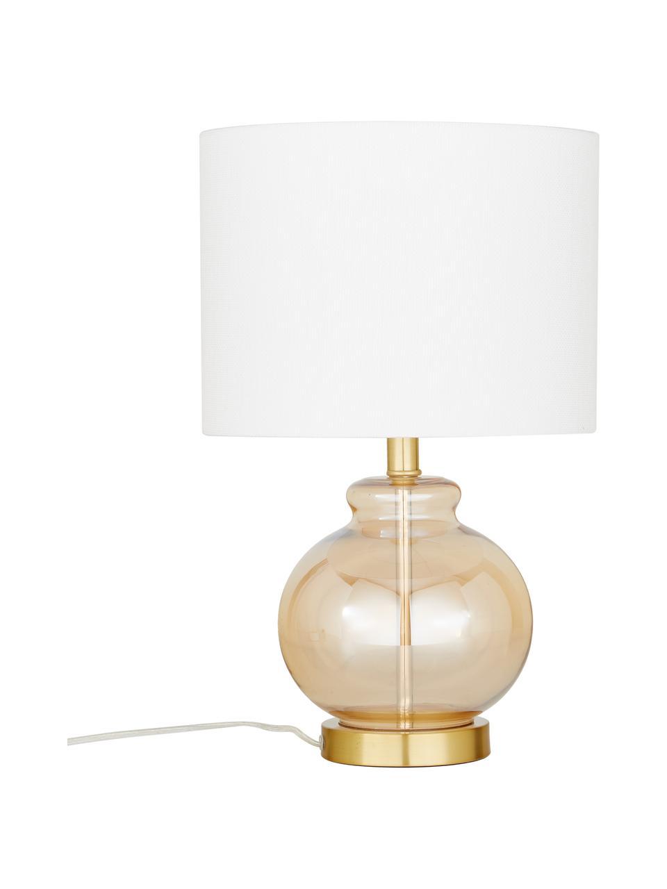 Lampada da tavolo con base in vetro Natty, Paralume: tessuto, Base della lampada: vetro, Bianco, ambra, trasparente, Ø 31 x Alt. 48 cm