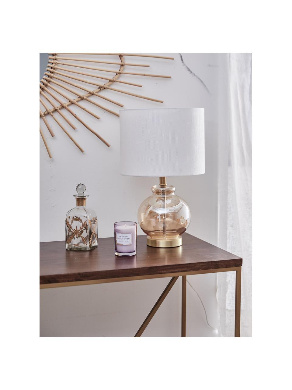 Tafellamp Natty met glazen onderstel, Lampenkap: textiel, Lampvoet: glas, Voetstuk: geborsteld messing, Wit, amberkleurig, transparant, Ø 31 x H 48 cm