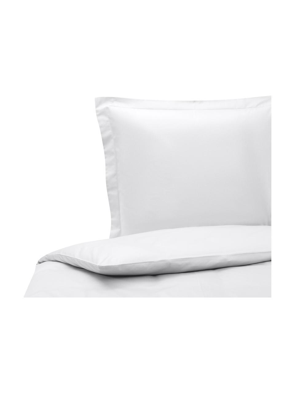 Pościel z organicznej satyny bawełnianej z lamówką Premium, Jasny szary, 135 x 200 cm + 1 poduszka 80 x 80
