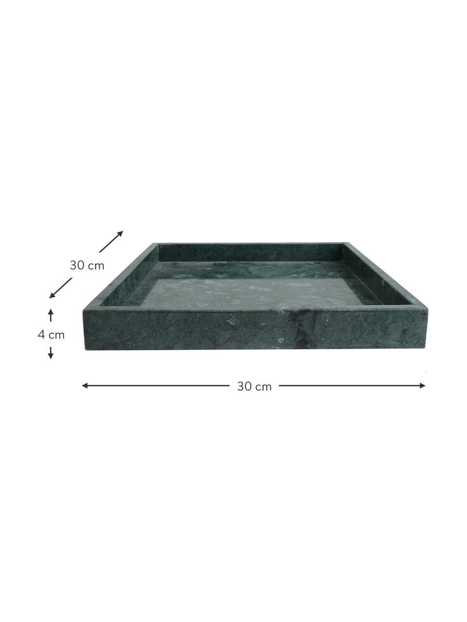Deko-Marmor-Tablett Ciaran, Marmor, Grün, marmoriert, B 30 x T 30 cm