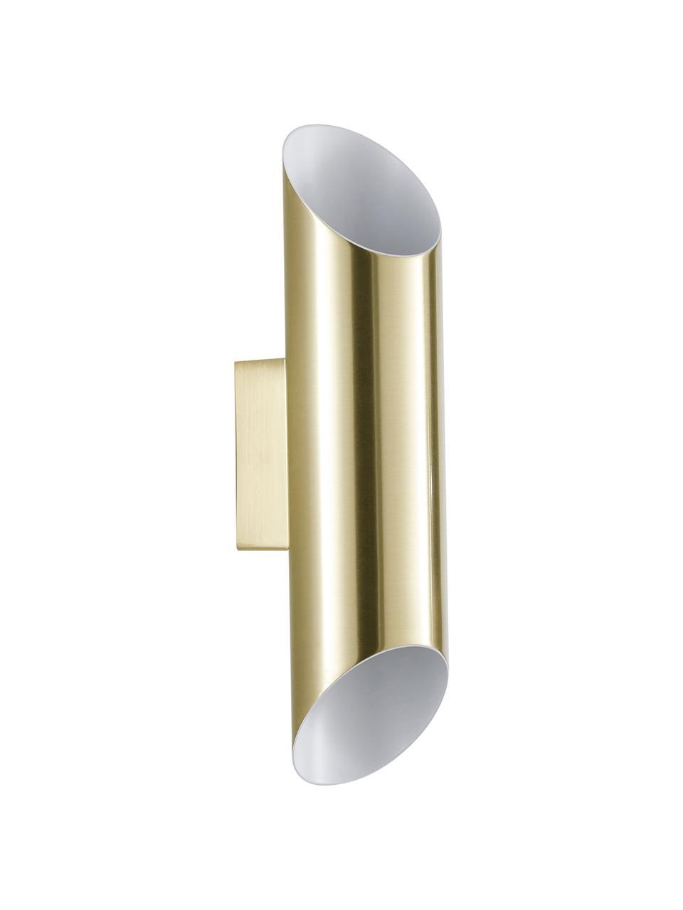 Wandlamp Renee in goudkleur, Lampenkap: geborsteld metaal, Mat goudkleurig, 7 x 28 cm