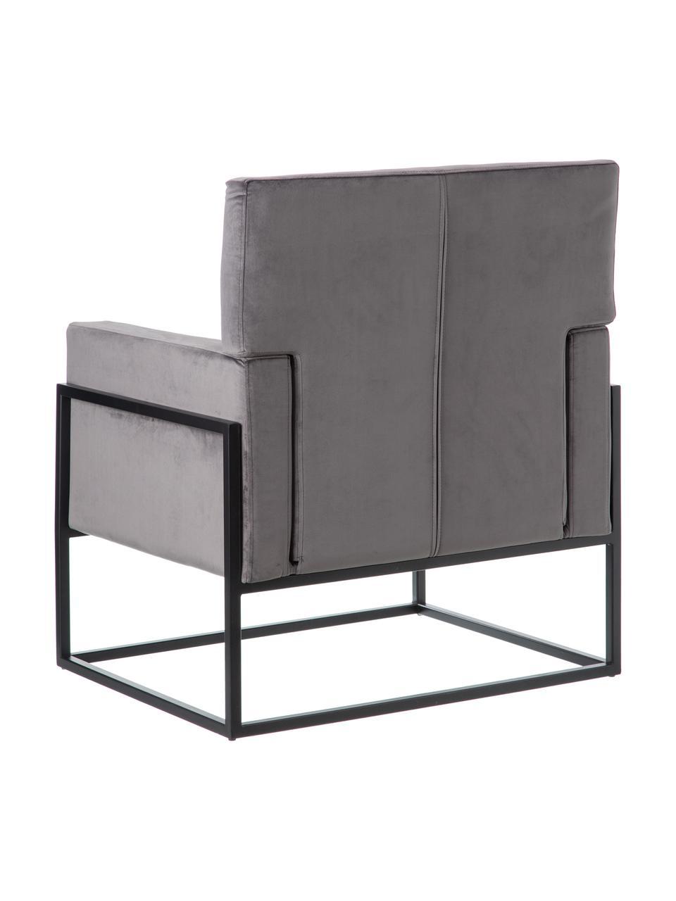 Fotel wypoczynkowy z aksamitu Pete, Tapicerka: 100% aksamit poliestrowy, Nogi: stal szlachetna, Szary, czarny, S 67 x G 74 cm