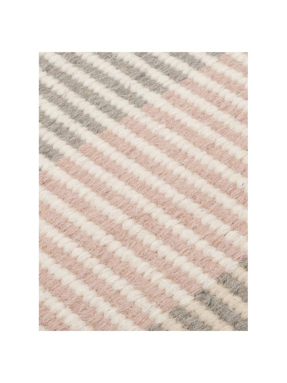 Gestreifter Kelimteppich Devise aus Wolle, handgewebt, 100% Wolle  Bei Wollteppichen können sich in den ersten Wochen der Nutzung Fasern lösen, dies reduziert sich durch den täglichen Gebrauch und die Flusenbildung geht zurück., Mehrfarbig, B 140 x L 200 cm (Größe S)