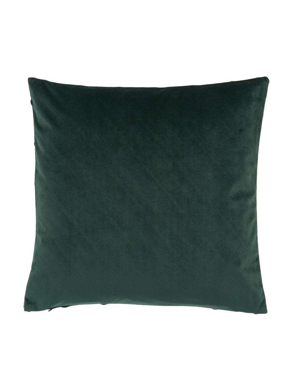 Samt-Kissenhülle Leyla in Dunkelgrün mit Struktumuster, Samt (100% Polyester), Grün, 40 x 40 cm