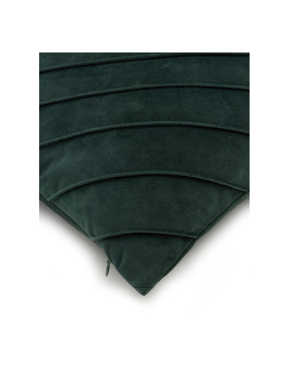 Fluwelen kussenhoes Leyla in donkergroen met structuurpatroon, Fluweel (100% polyester), Groen, 40 x 40 cm
