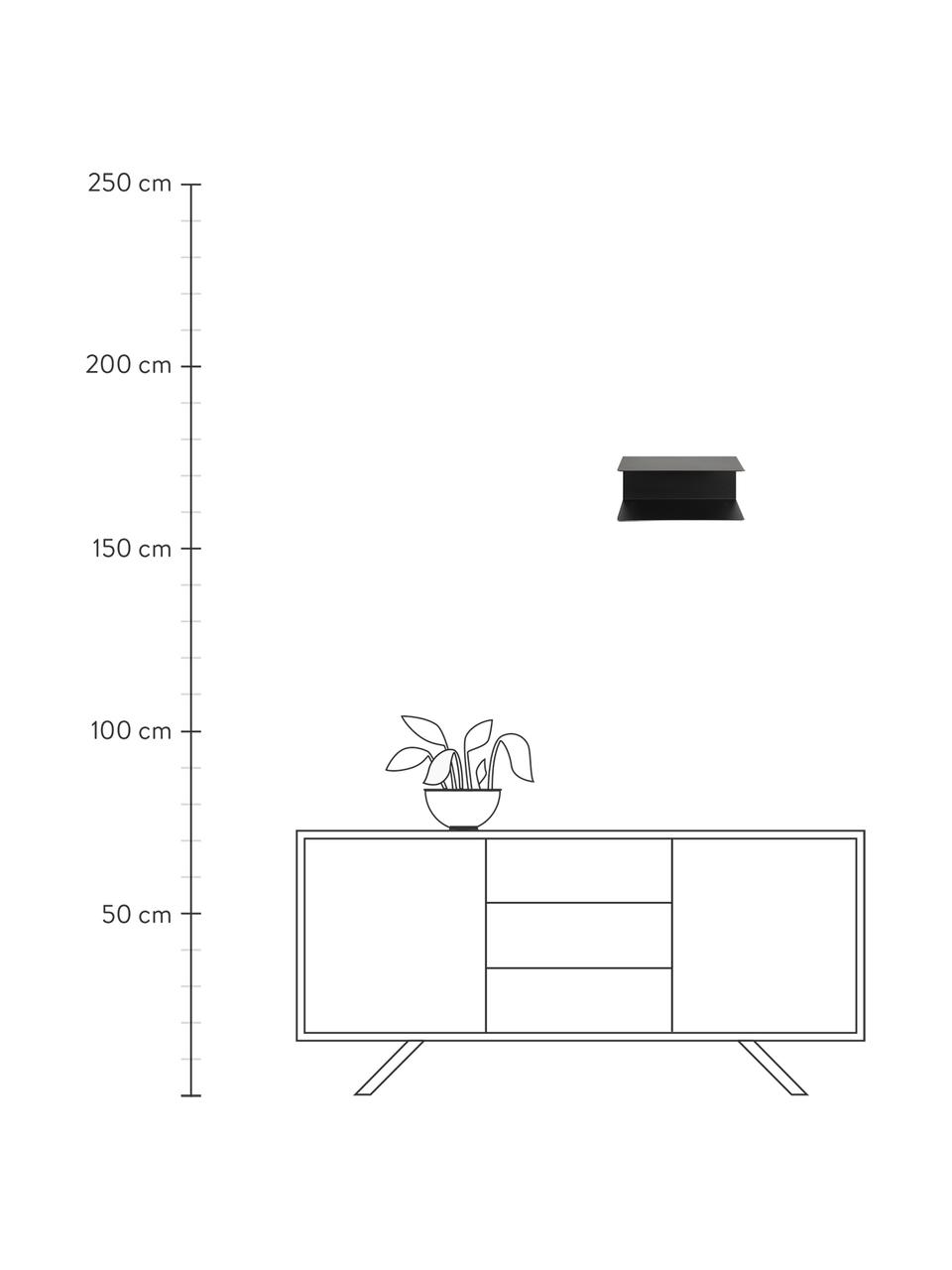 Zwarte metalen wandplanken Newton, 2 stuks, Gepoedercoat metaal, Zwart, 35 x 14 cm