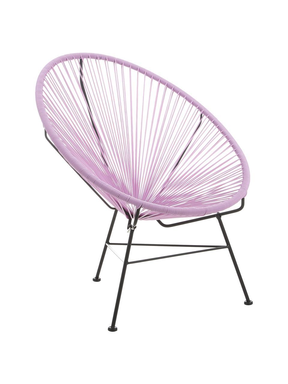 Sedia a poltrona intrecciata Bahia, Seduta: materiale sintetico, Struttura: metallo verniciato a polv, Lilla, Larg. 81 x Prof. 73 cm