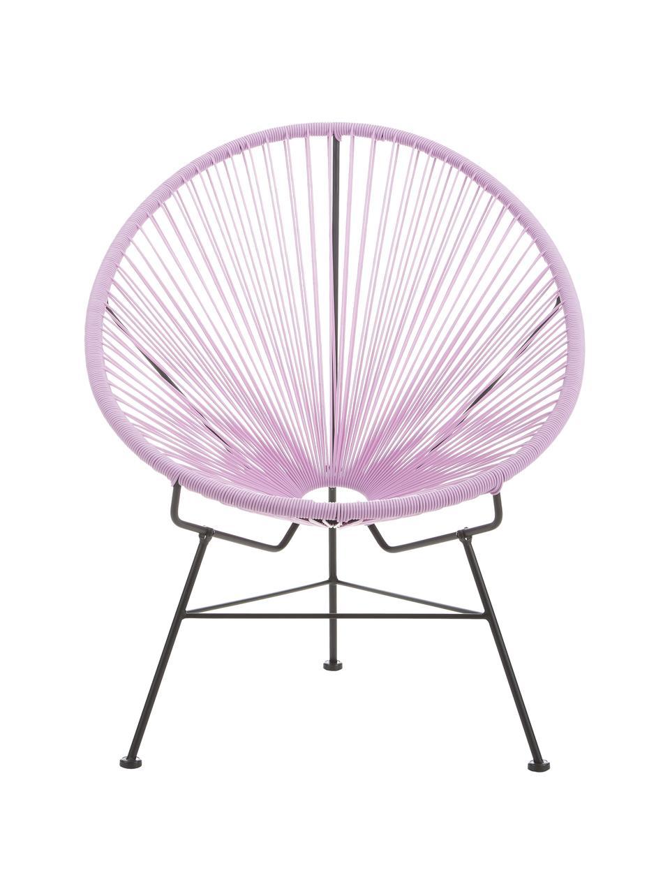 Loungesessel Bahia aus Kunststoff-Geflecht, Sitzfläche: Kunststoff, Gestell: Metall, pulverbeschichtet, Lila, B 81 x T 73 cm