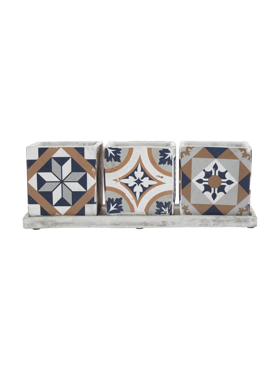 Set portavasi quadrati in cemento Portugal 4 pz, Cemento, Multicolore, Larg. 36 x Alt. 13 cm