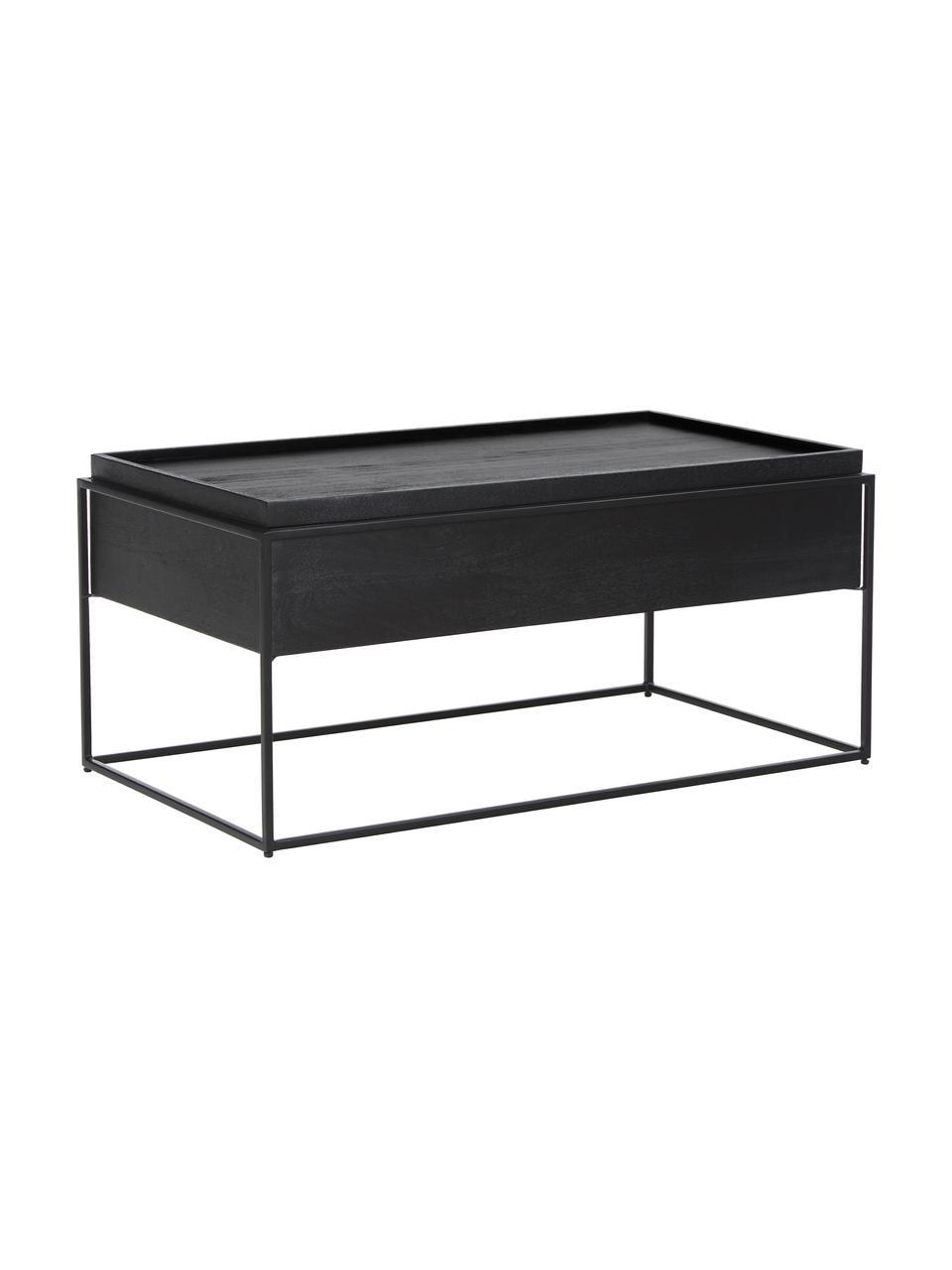 Tavolino da salotto con contenitore Theo, Struttura: metallo verniciato a polv, Corpo: legno di mango dipinto di nero Struttura: nero opaco, Larg. 100 x Alt. 45 cm