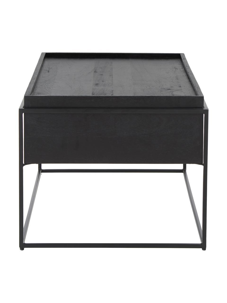 Table basse noire en bois et métal Theo, Corps: manguier, noir laqué Support: noir, mat