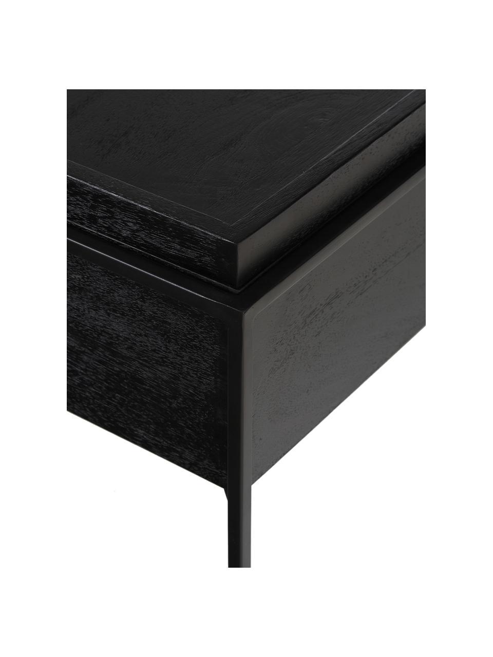 Couchtisch Theo mit Stauraum, Korpus: Massives Mangoholz, lacki, Gestell: Metall, pulverbeschichtet, Korpus: Mangoholz, schwarz lackiertGestell: Schwarz, matt, 100 x 45 cm