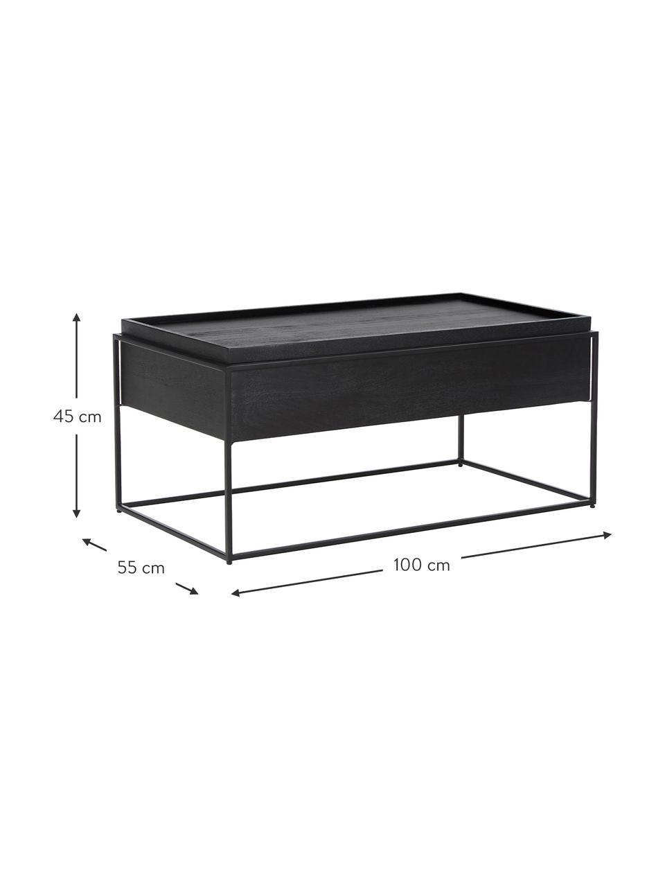Salontafel Theo met opbergruimte, Frame: gepoedercoat metaal, Frame: zwart gelakt mangohout. Frame: mat zwart, 100 x 45 cm