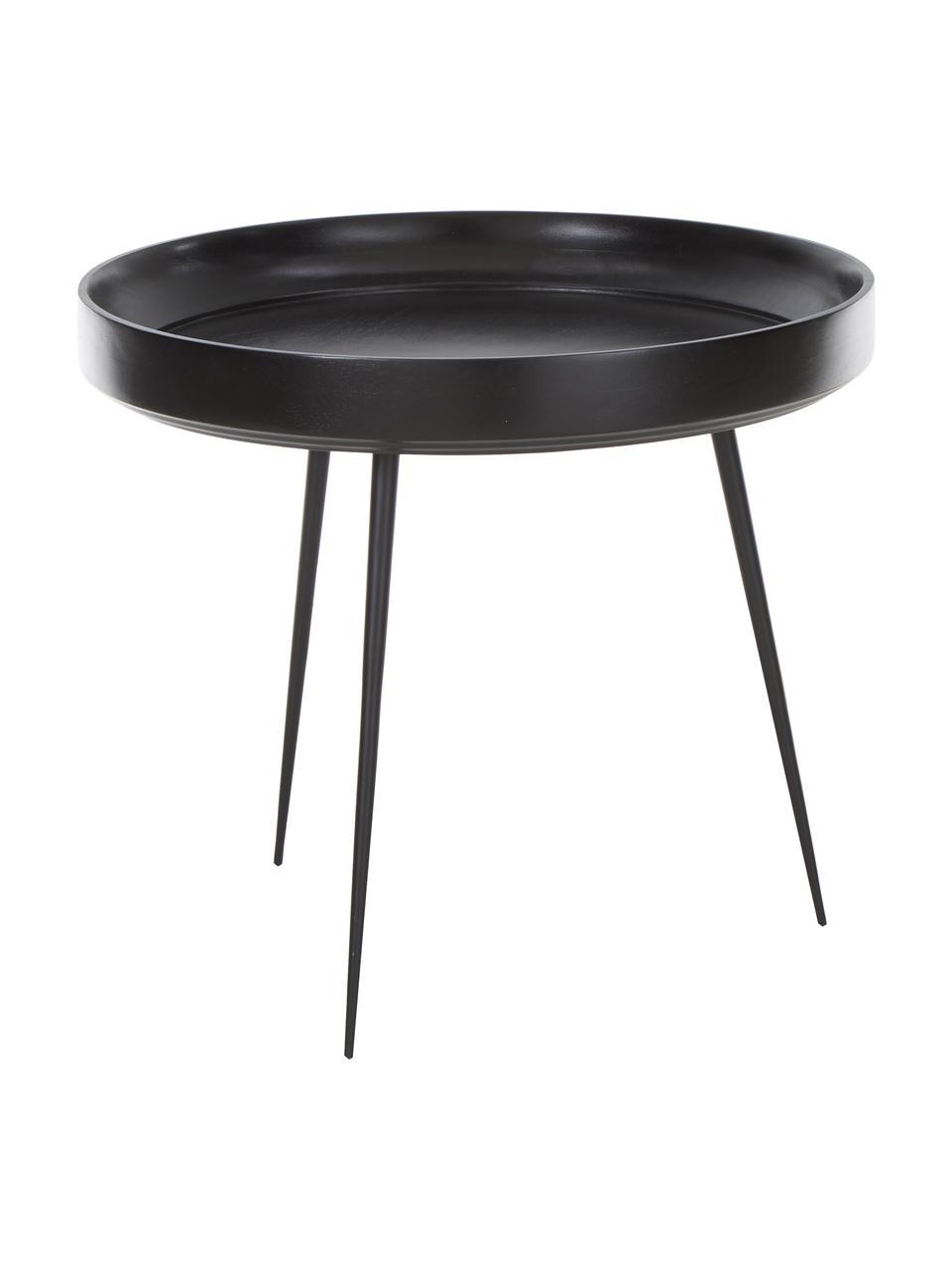 Kleiner Design-Beistelltisch Bowl Table aus Mangoholz, Tischplatte: Mangoholz, gebeizt und kl, Beine: Stahl, pulverbeschichtet, Schwarz, Ø 53 x H 46 cm