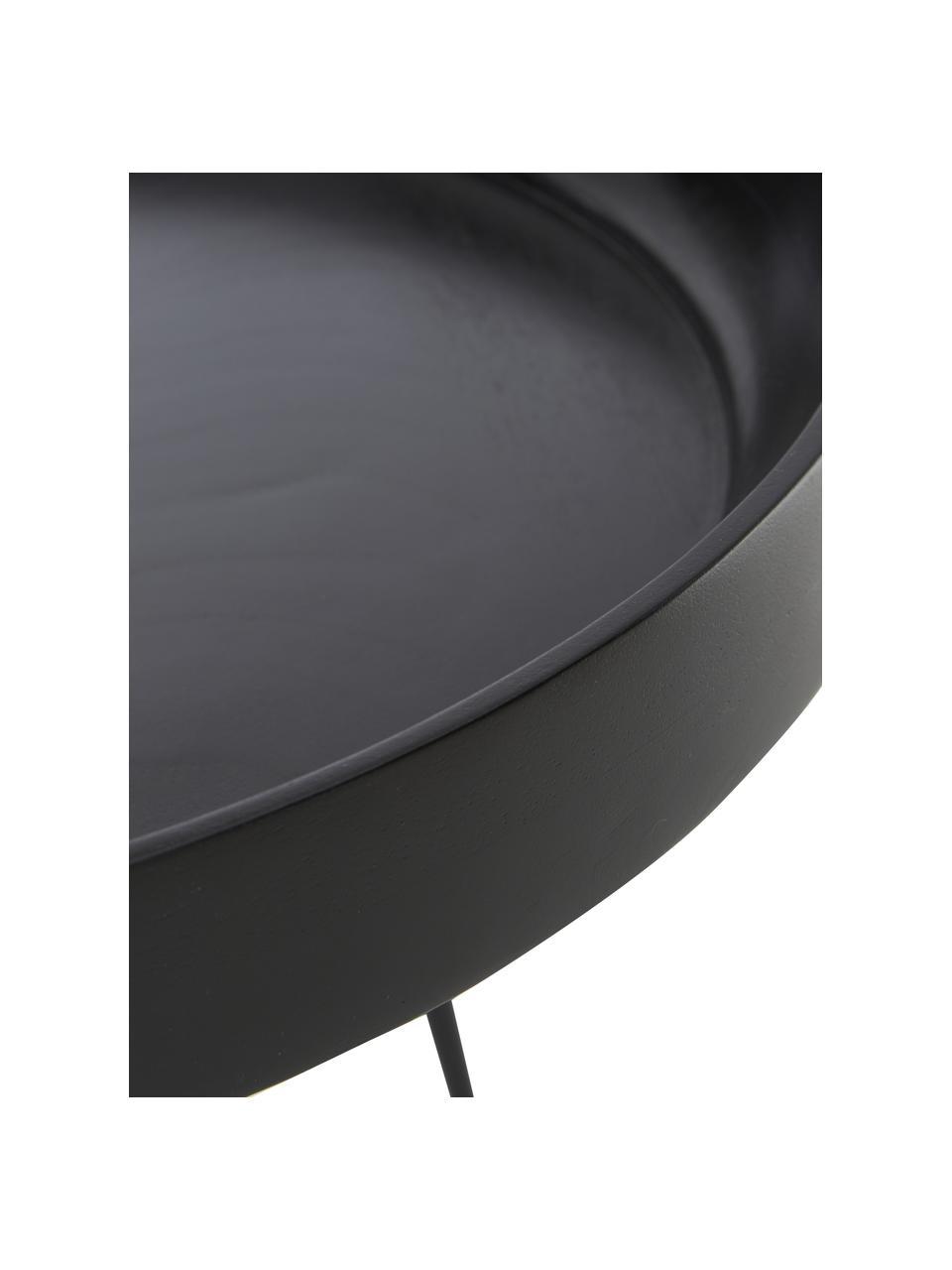 Stolik pomocniczy z drewna mangowego Bowl Table, Blat: drewno mangowe, barwiony , Nogi: stal malowana proszkowo, Czarny, Ø 53 x W 46 cm