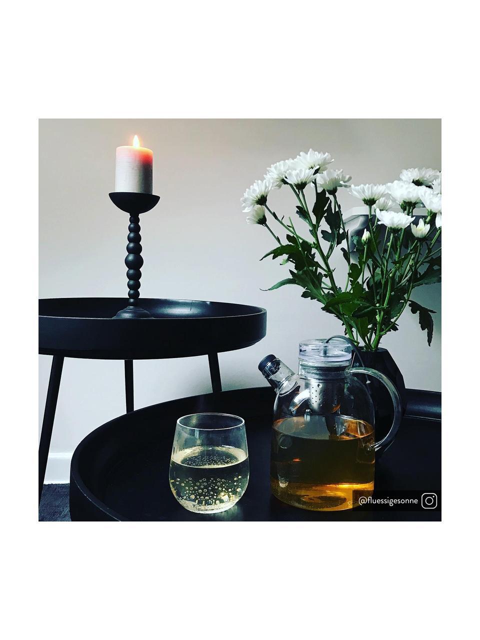 Kleine design bijzettafel Bowl Table van mangohout, Tafelblad: gebeitst en gelakt mangoh, Poten: gepoedercoat staal, Zwart, Ø 53 x H 46 cm