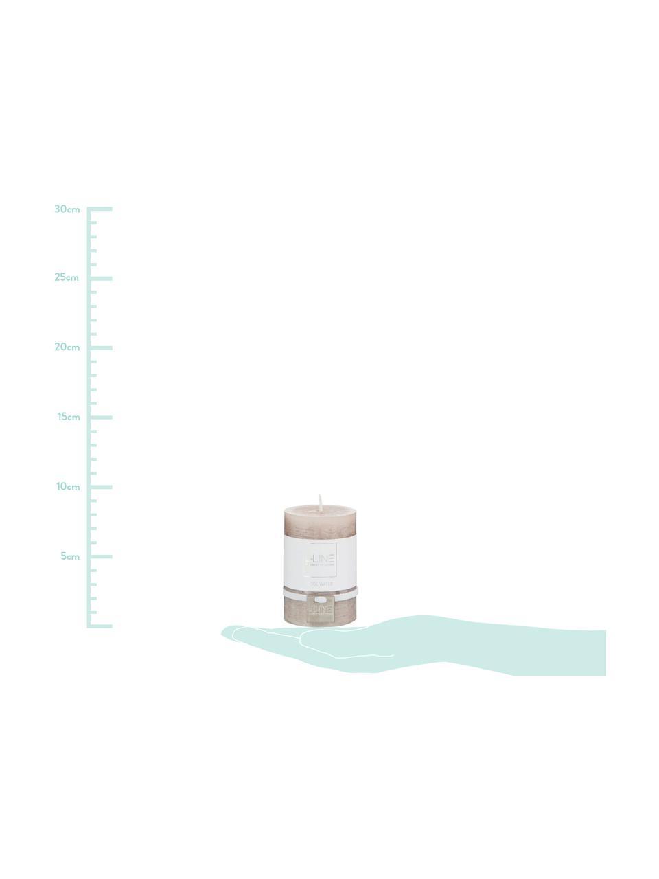 Stumpenkerze Topo, Paraffinwachs, Beige, Ø 5 x H 8 cm