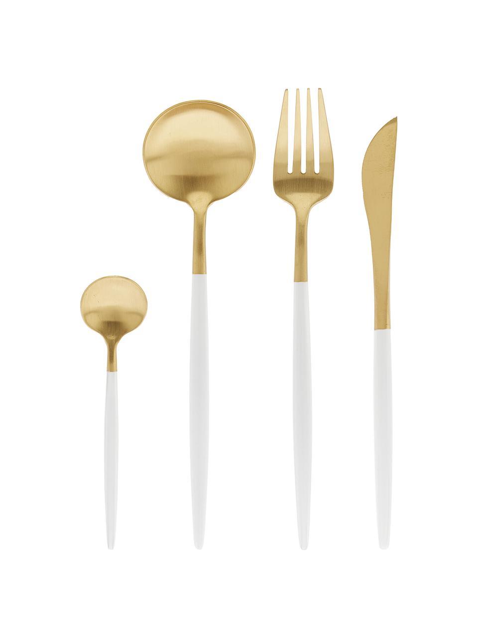 Ménagère dorée mate Faina, 6personnes (24élém.), Couleur laitonnée, blanc