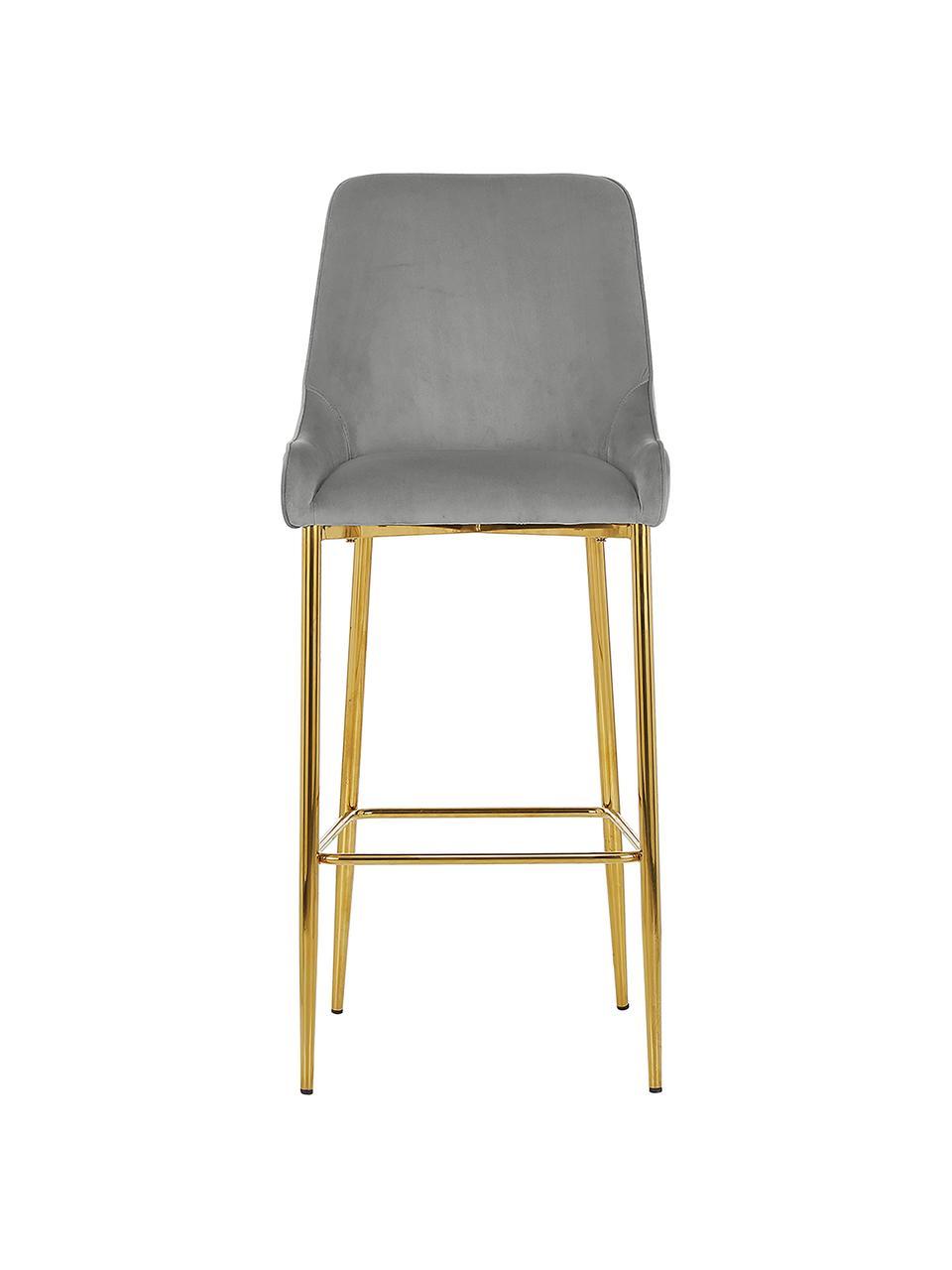 Fluwelen barstoel Ava met goudkleurige poten, Bekleding: fluweel (100% polyester), Fluweel grijs, 48 x 107 cm