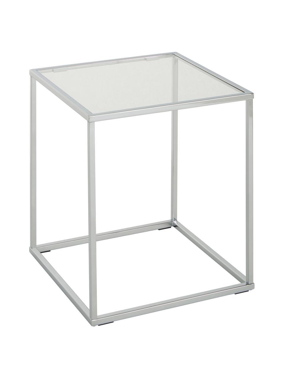 Tavolino con piano in vetro Maya, Piano d'appoggio: vetro temperato, Struttura: metallo cromato, Cromo, Larg. 45 x Alt. 50 cm