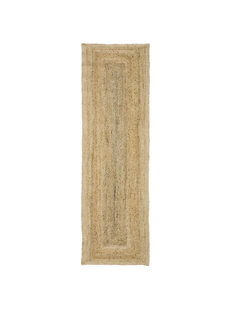 Handgemaakte juten loper Sharmila, 100% jute, Beige, 80 x 250 cm