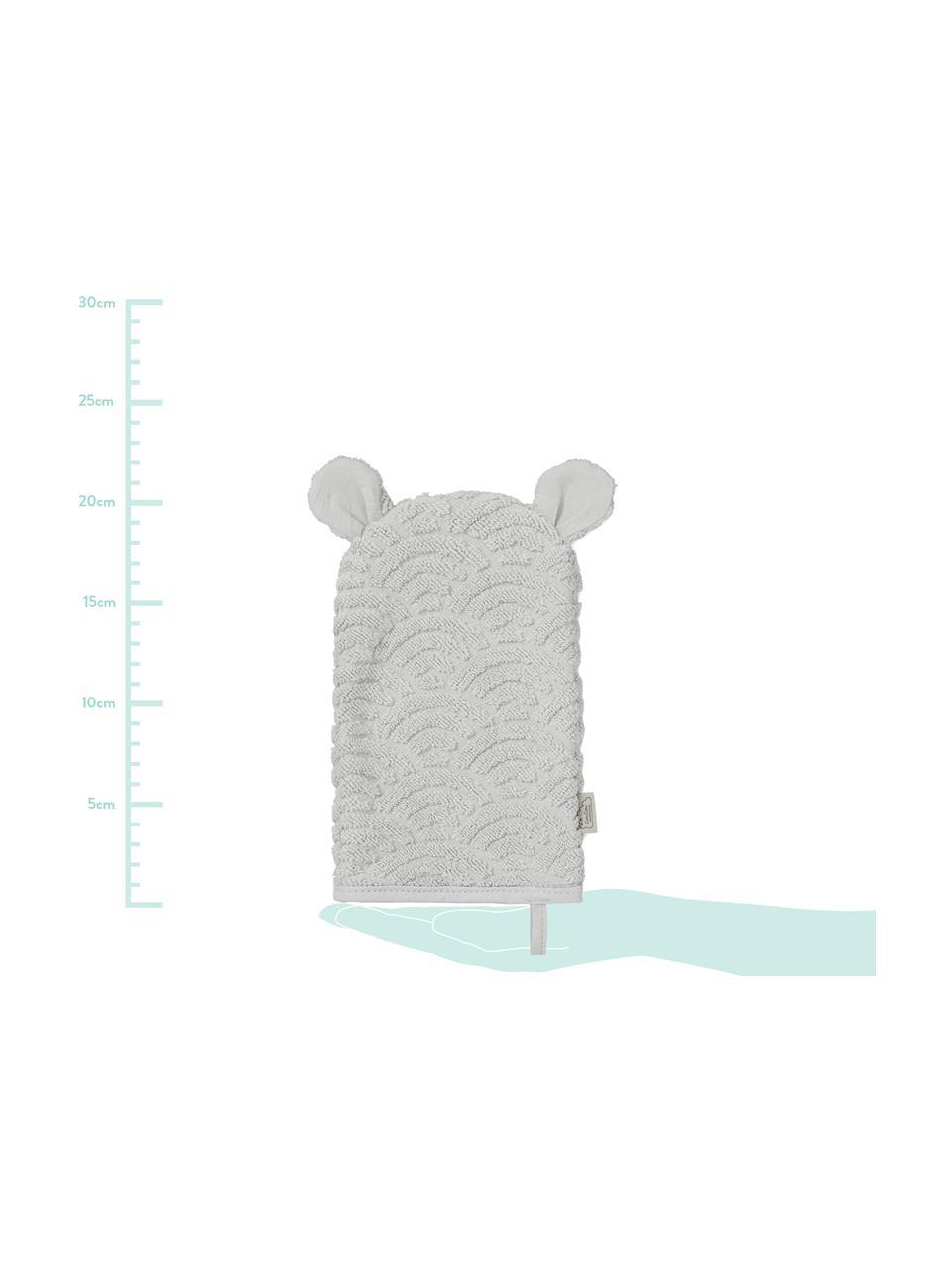 Manopla de baño de algodón ecológico Wave, 100%algodón ecológico, Gris, An 15 x L 22 cm